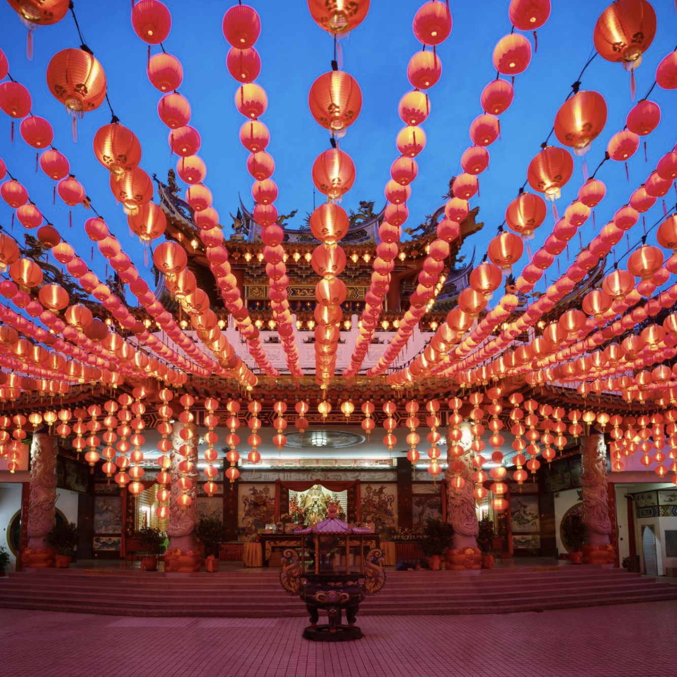 Lunar new year lanterns strung on a building