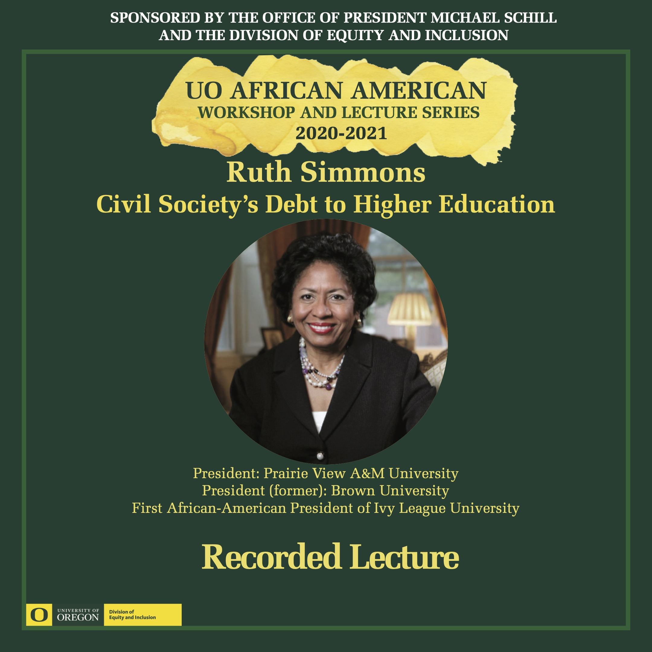Ruth Simmons Recorded Lecture