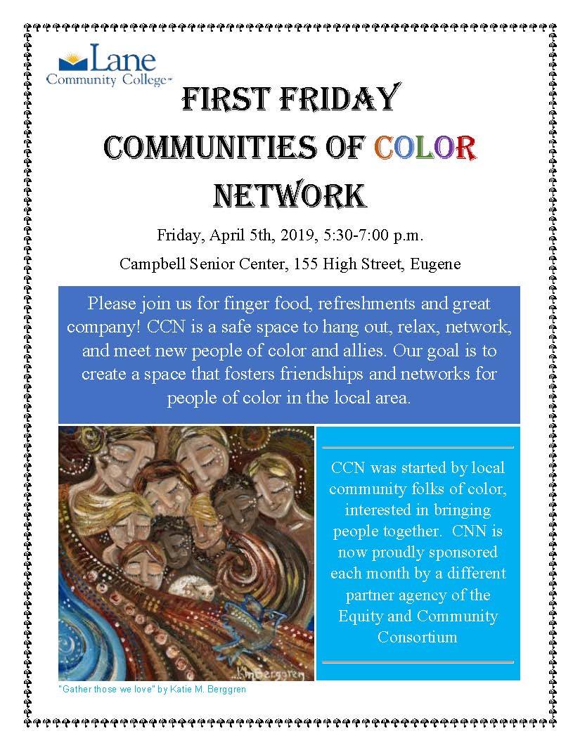 First friday, Fri, April 5, 5:30-7pm, Campell senior center