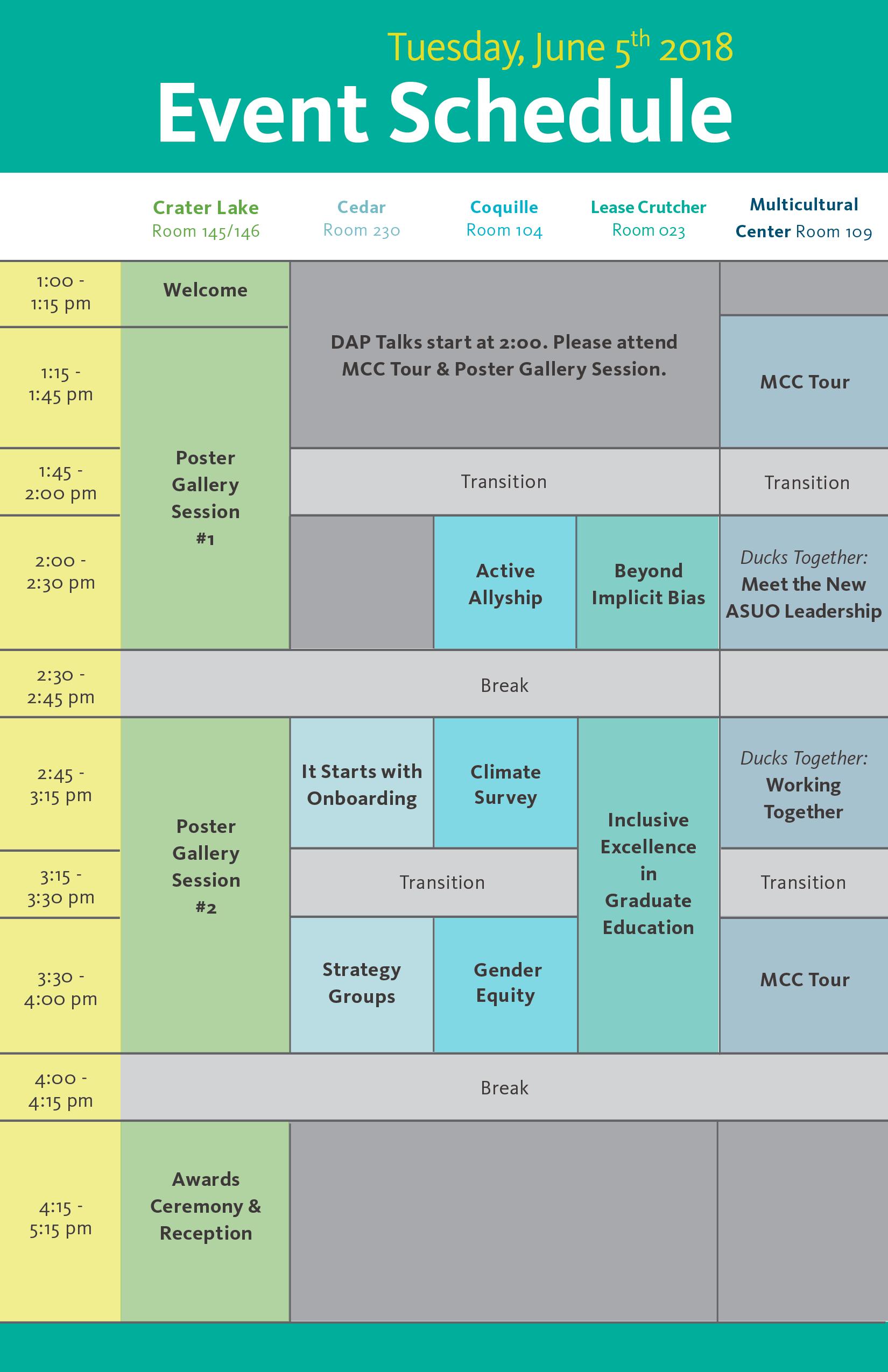 Showcase Oregon 2018 Event Schedule