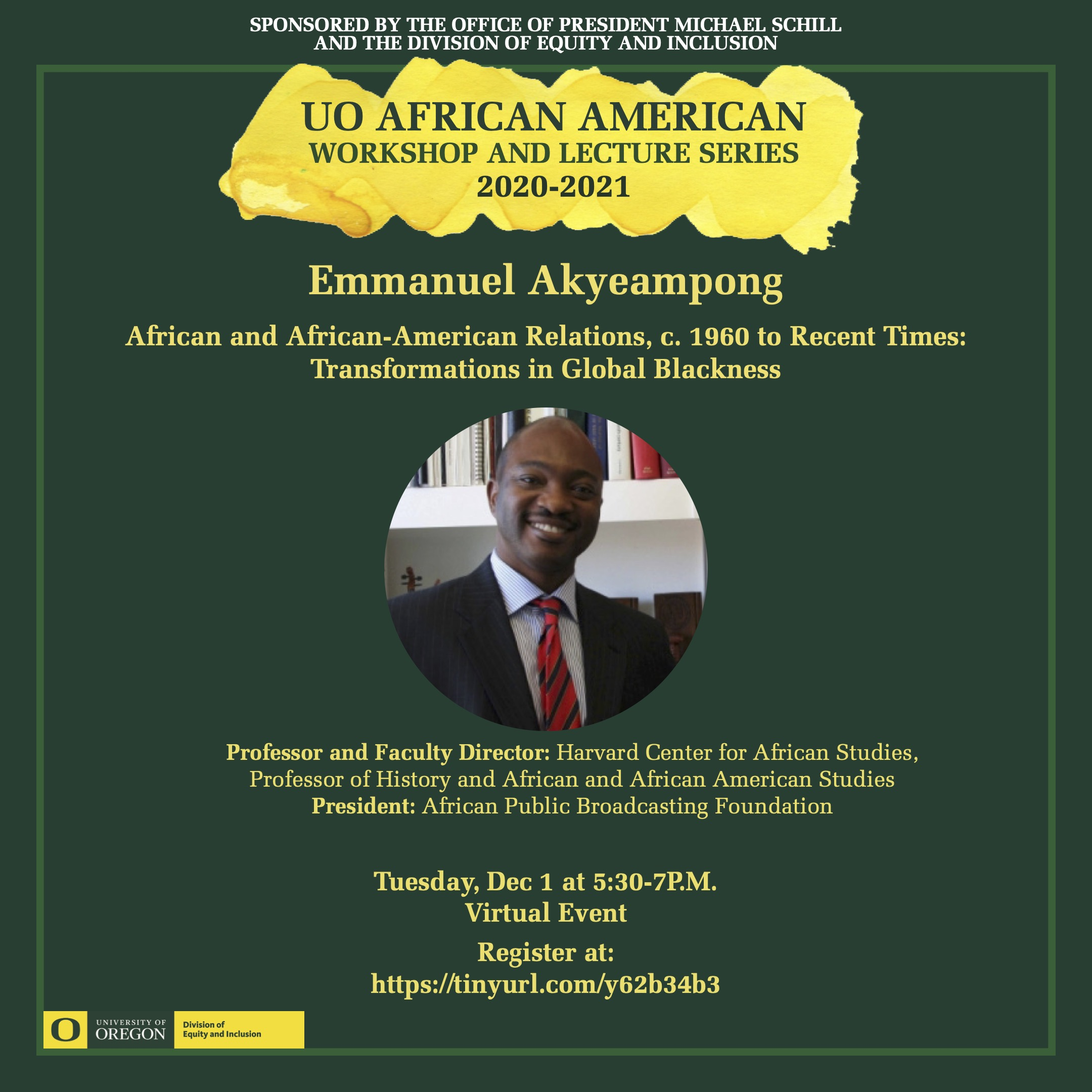 Emmanuel_akyeampong - Tuesday, Dec 1 at 5:30-7P.M. Virtual Event
