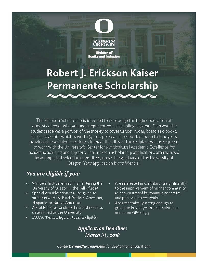 Erikson Kaiser Permanante Scholarship. Application Deadline March 21, 2018.