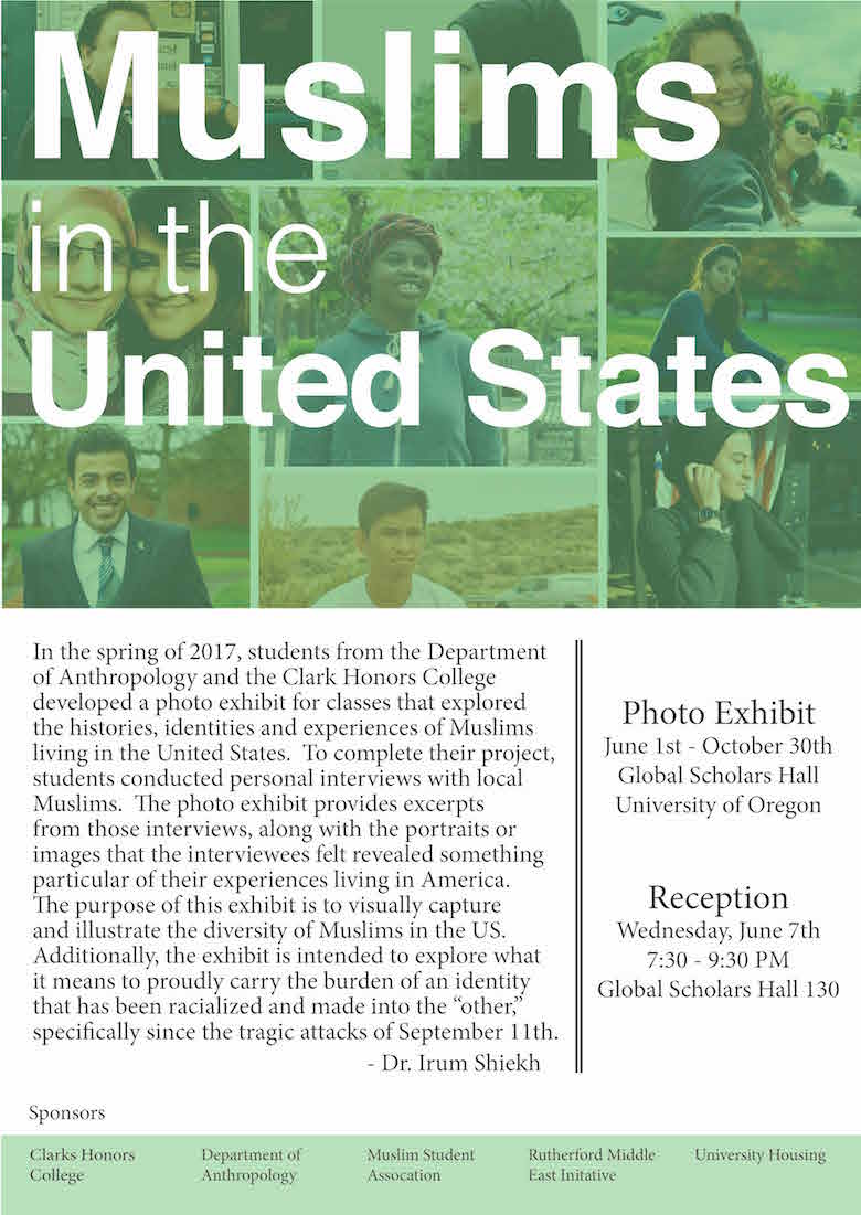 Muslims in the United States, Photo Exhibit, June 1 - October 30; Reception, June 7, 7:30 - 9:30, Global Scholars Hall 130.