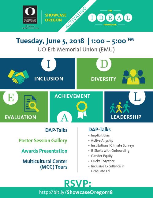 Showcase Oregon.  Celebrating the IDEAL Framework:  Inclusion. Diversity. Evaluation.  Achievement. Leadership. Tuesday, June 5, 2018 1:00 - 5:00 PM UO Erb Memorial Union (EMU) RSVP