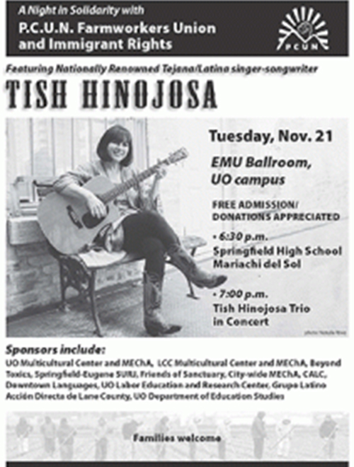 Tish Hinojosa, November 21. EMU Ballroom. 6:30 p.m.
